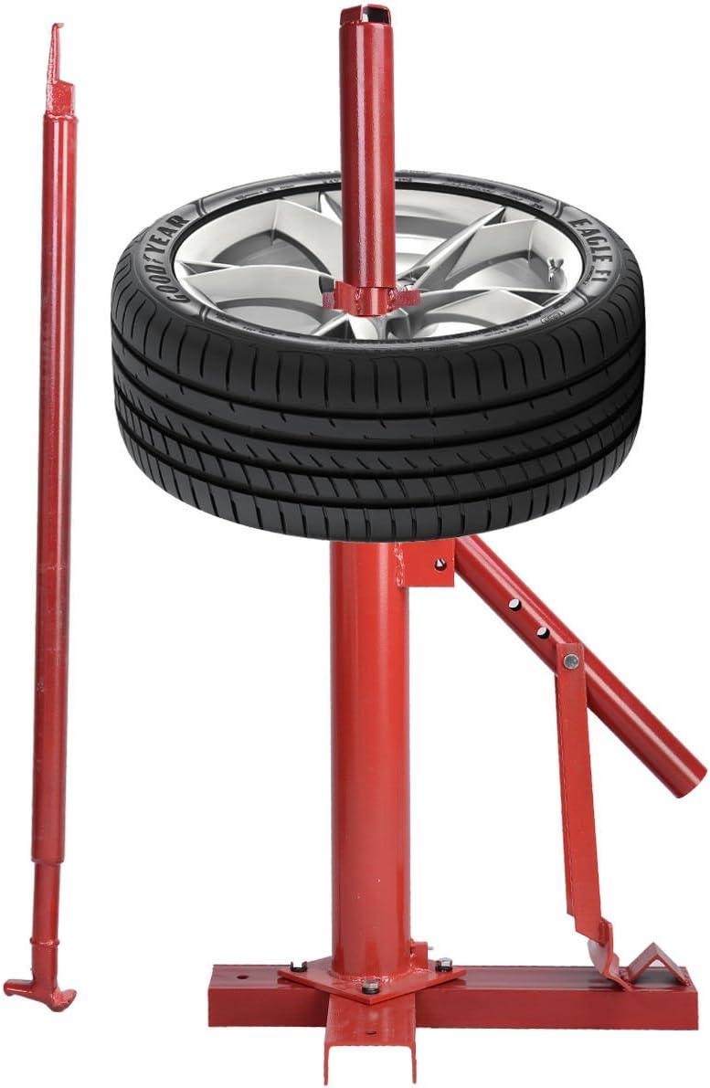 Reifenmontagehilfe GOPLUS Manuelle Reifenmontiermaschine Kompatibel mit Reifen von 8/″ bis 16/″ Reifenwechsler aus Stahl Reifenmontageger/ät Reifenmontierger/ät mit Felgendorn Rot