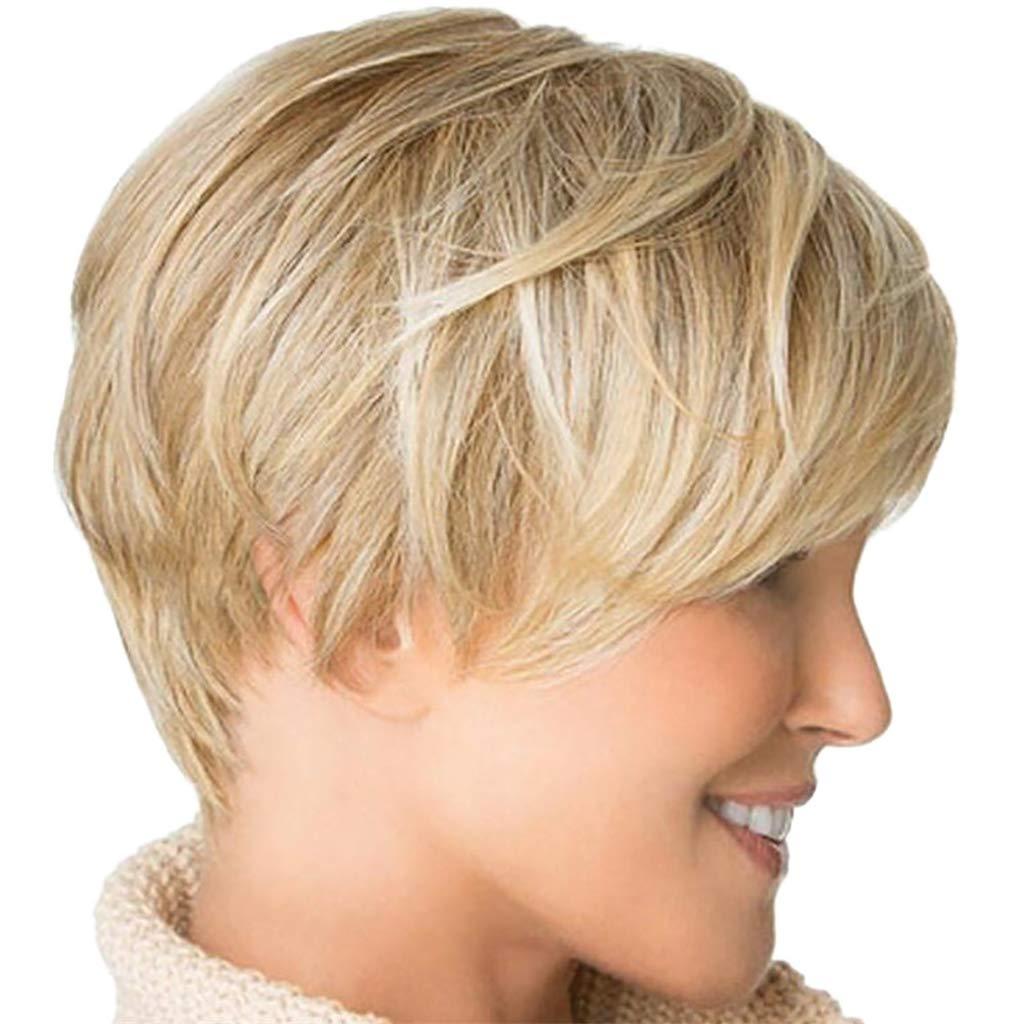 Yivise - Peluca de pelo corto y liso, estilo sexy, color dorado ...