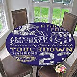 Mikihome Round Tablecloths SportsFootball College Version Athletic Championship Apparel Blue White Yellow or Everyday Dinner, Parties 50''-55'' Round (Elastic Edge)