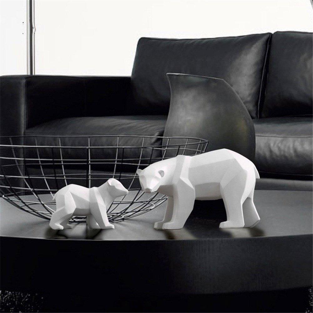 grand R/ésine Abstraite Blanc Ours Polaire Sculpture Figurine Artisanat D/écor /À La Maison D/écor G/éom/étrique R/ésine Faune Ours Statue Craft