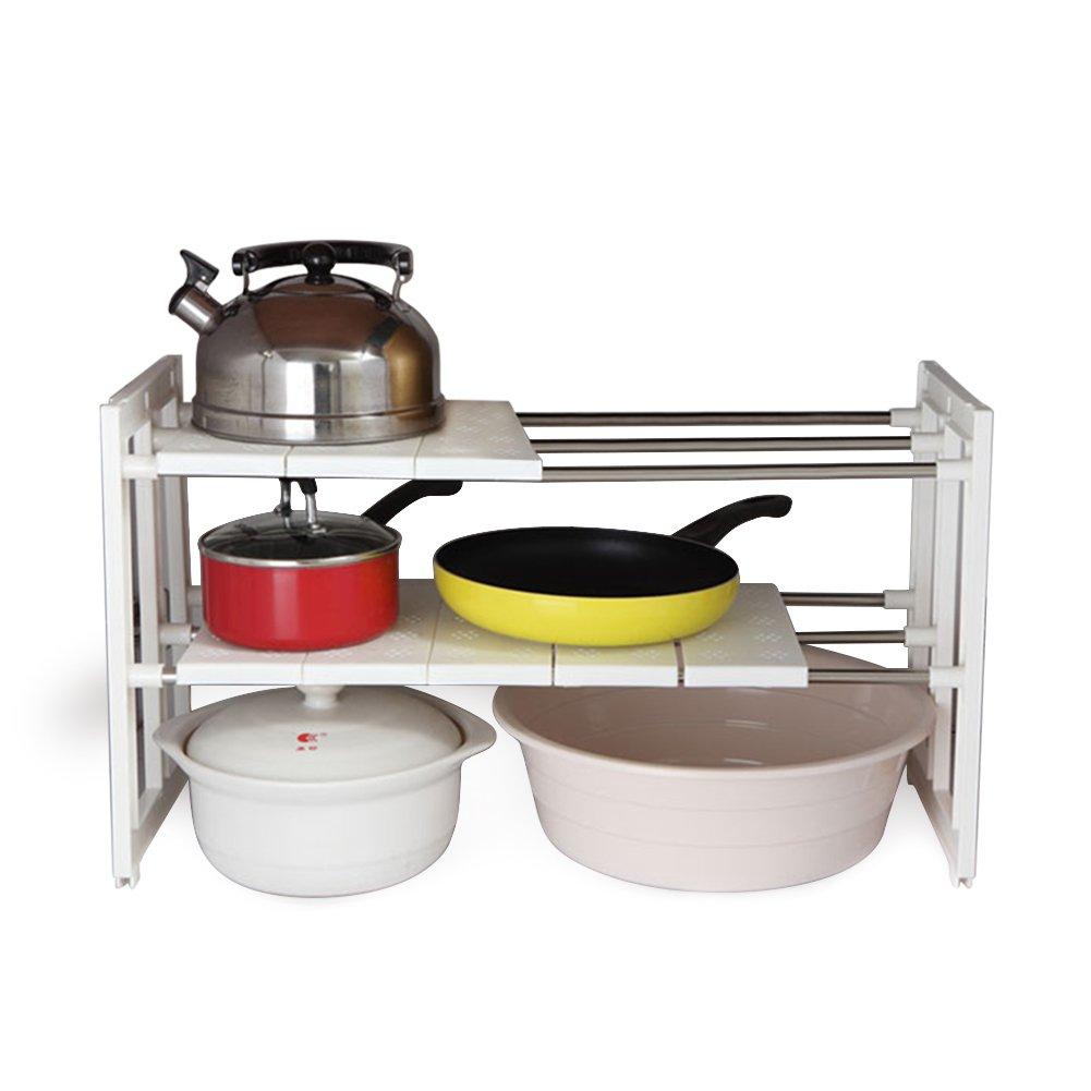 Jovilife Under Sink Expandable Cabinet Organizer Storage Rack Kitchen and Bath Multipurpose Tidy Stacking Shelf