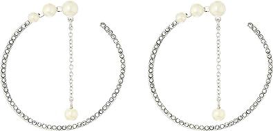 3e153688e28f3 Amazon.com: Vince Camuto Women's Large Pearl Wraparound Hoop ...