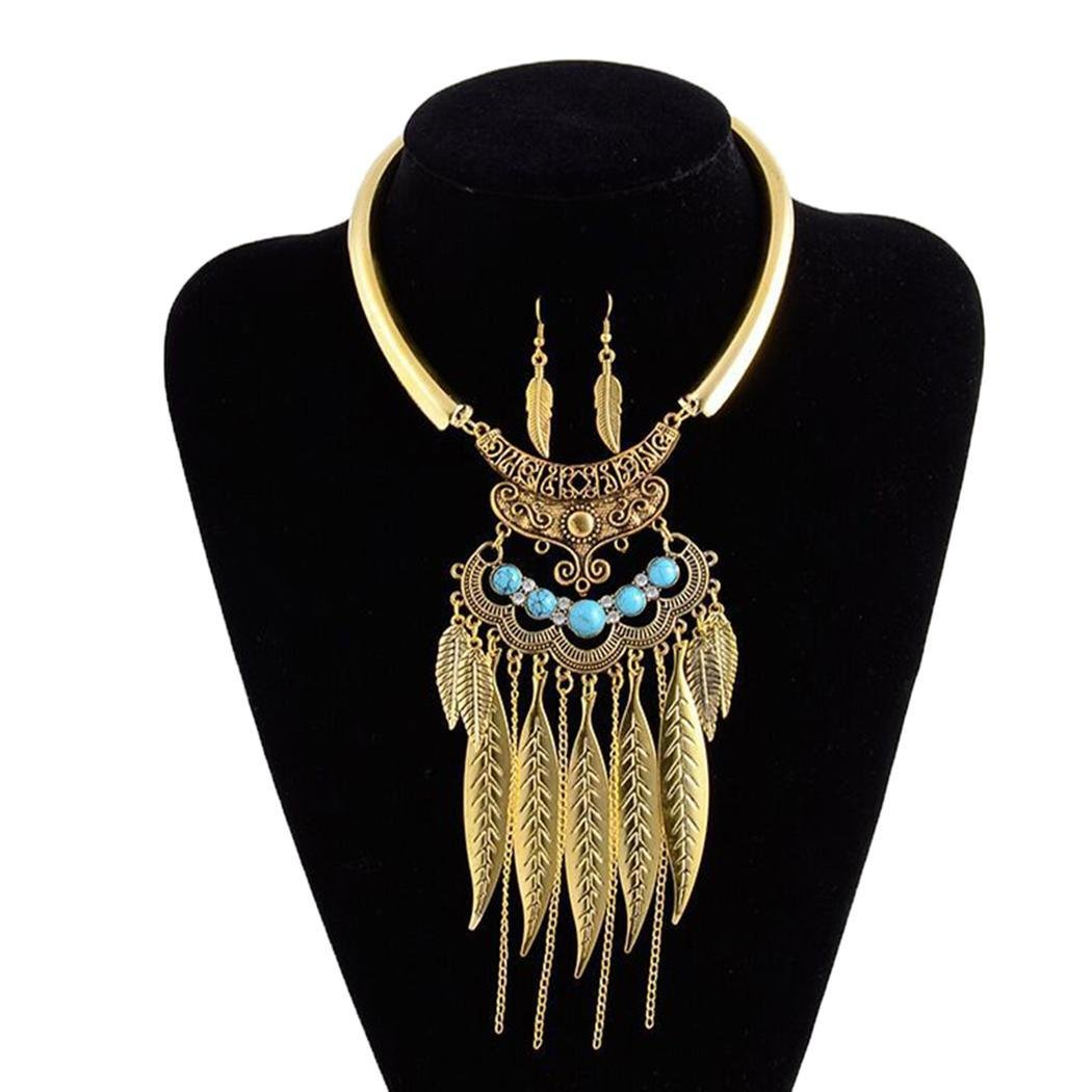 Women Fashion Bohemian Style Leaves Link Fringed Metal Collar Choker Necklace (Golden)