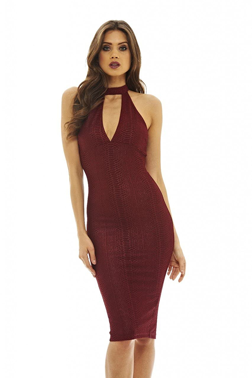 5b684d63b8ea2 95% Polyester 5% Spandex Imported Grab this textured high neck bodycon  dress which features a cut out of the chest and feel gorgeous and  sophisticated!