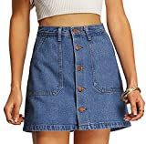 SheIn Women's Button Front Denim A-Line Short Skirt - A-Blue X-Large