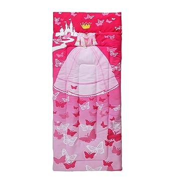 Saco de dormir para niños con diseño de princesa rosa, blanco, castillo de Disney, estampado de mariposas fucsia, temática de regalía, manta de microfibra: ...