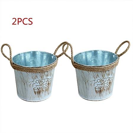 pequeña olla cubo de metal con mango de cuerda de yute balcón vintage cubo de la lata contenedor cubo antiguo jardín maceta lápiz portalápiz decoración del hogar - turquesa: Amazon.es: Hogar