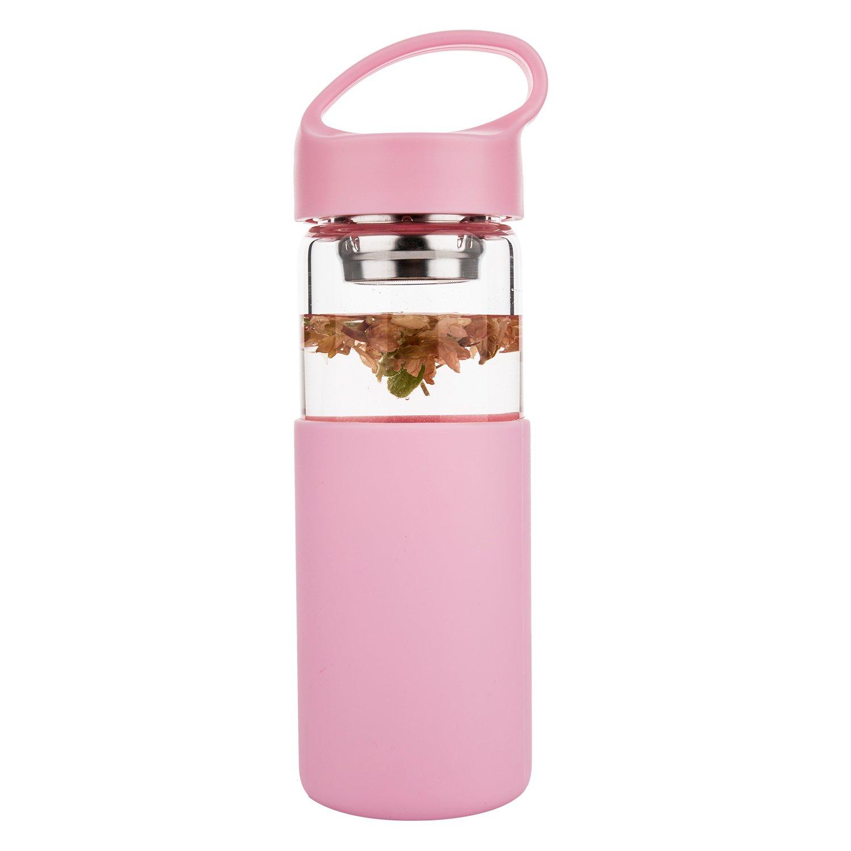 Justfwater Botella de Agua de Vidrio de Borosilicato con Funda de Silicona, Filtro - 450 ml: Amazon.es: Deportes y aire libre