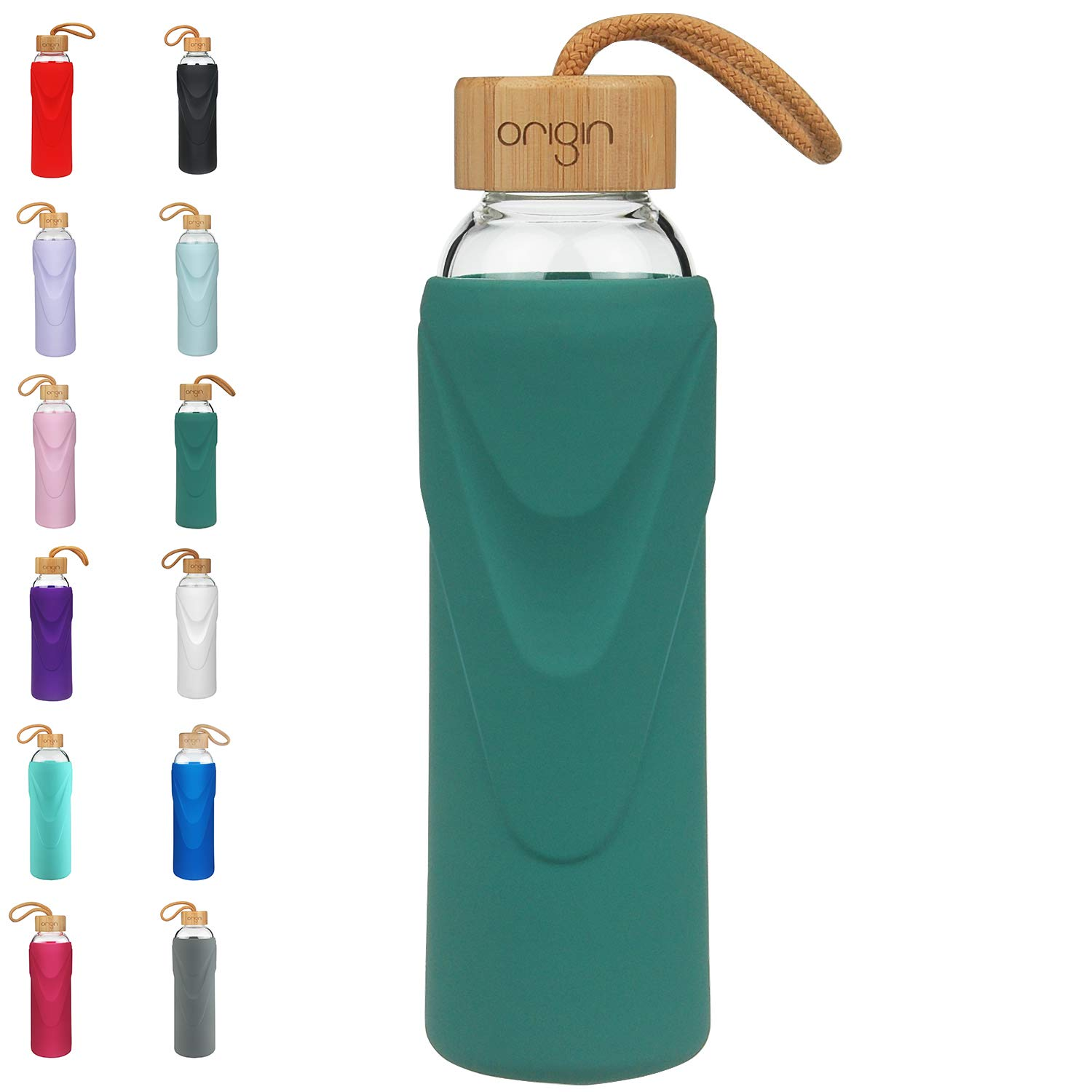 Origin - Best BPA-Free Glass Water Bottle with Protective Silicone Sleeve and Bamboo Lid - Dishwasher Safe - 32 Ounce (Seaside Green)