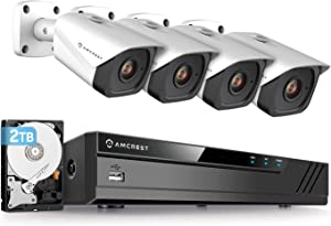Amcrest 4K Security Camera System w/ 4K (8MP) 8CH PoE NVR, (4) x 4K (8-Megapixel) IP67 Weatherproof Metal Bullet POE IP Cameras, Pre-Installed 2TB Hard Drive, NV4108E-IP8M-2496EW4-2TB (White)