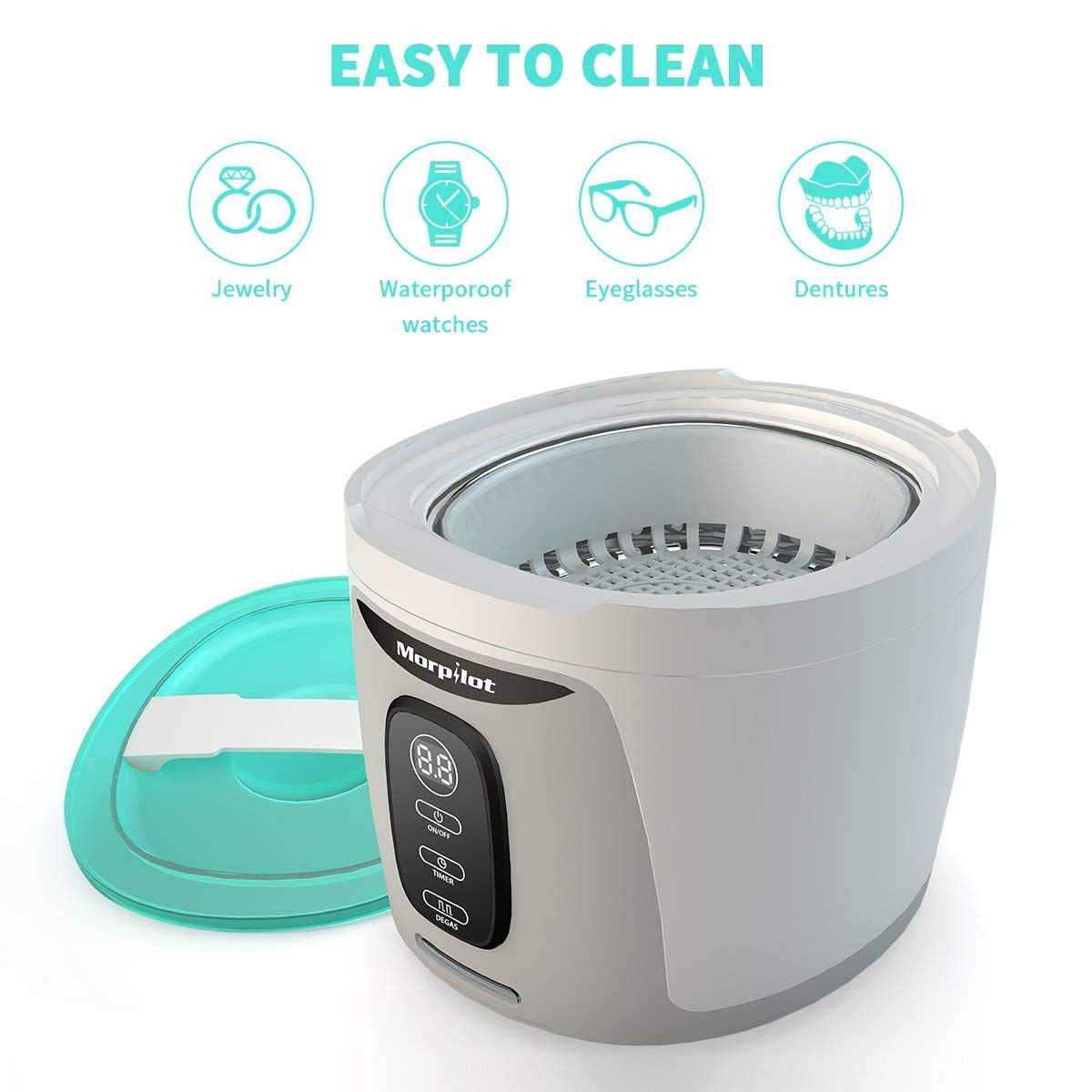Morpilot Ultrasonic Cleaner 750ML Professional Sonic Washing Machine forJewelry,Eyeglasses, Rings, Coins,Dentures, Retainers, and Mouth Guards with UV Germicidal Lamp & Digital Timer