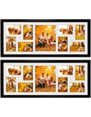 4x6 Collage Picture Frames with 9 Openings, Display Eight 4x6 Photos and One 8x10 Photo for Wall Hanging, Black, Pack of 2