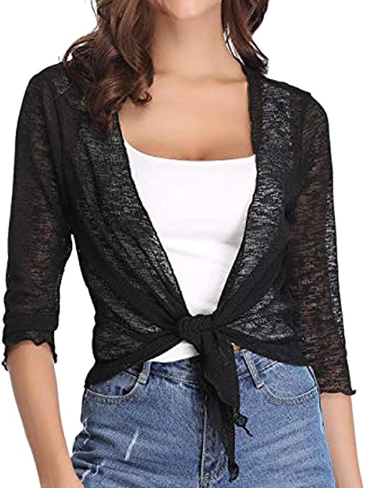New Womens Tie Front V Neck Bolero Shrug Ladies Long Sleeve Printed Cardigan Top