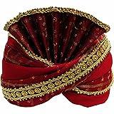 Yoga Trendz Mens Indian Traditional Wedding Red & Gold Maharaja Turban