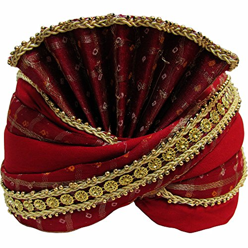 Yoga Trendz Mens Indian Traditional Wedding Red & Gold Maharaja Turban by Yoga Trendz