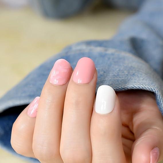 EchiQ - Clavos falsos cortos de mármol rosa, color blanco, rosa, cubierta completa, ABS artificial, UV, manicura de uñas, pinzas de imitación: Amazon.es: ...
