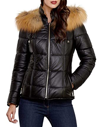 05dfa9c5011 Amazon.com: frr Quilted Reversible Leather Jacket with Gold Fox Trim:  Clothing
