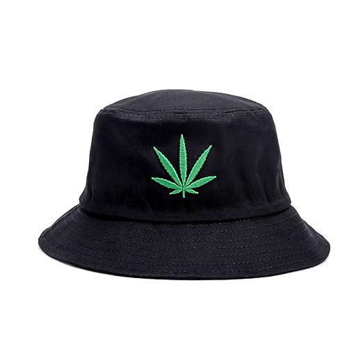 14ed8b7a8852d Bucket Hat Marijuana Pot Leaf Weed Cannabis Front Embroidred 100% Cotton  Unisex Cap Reversible Packable
