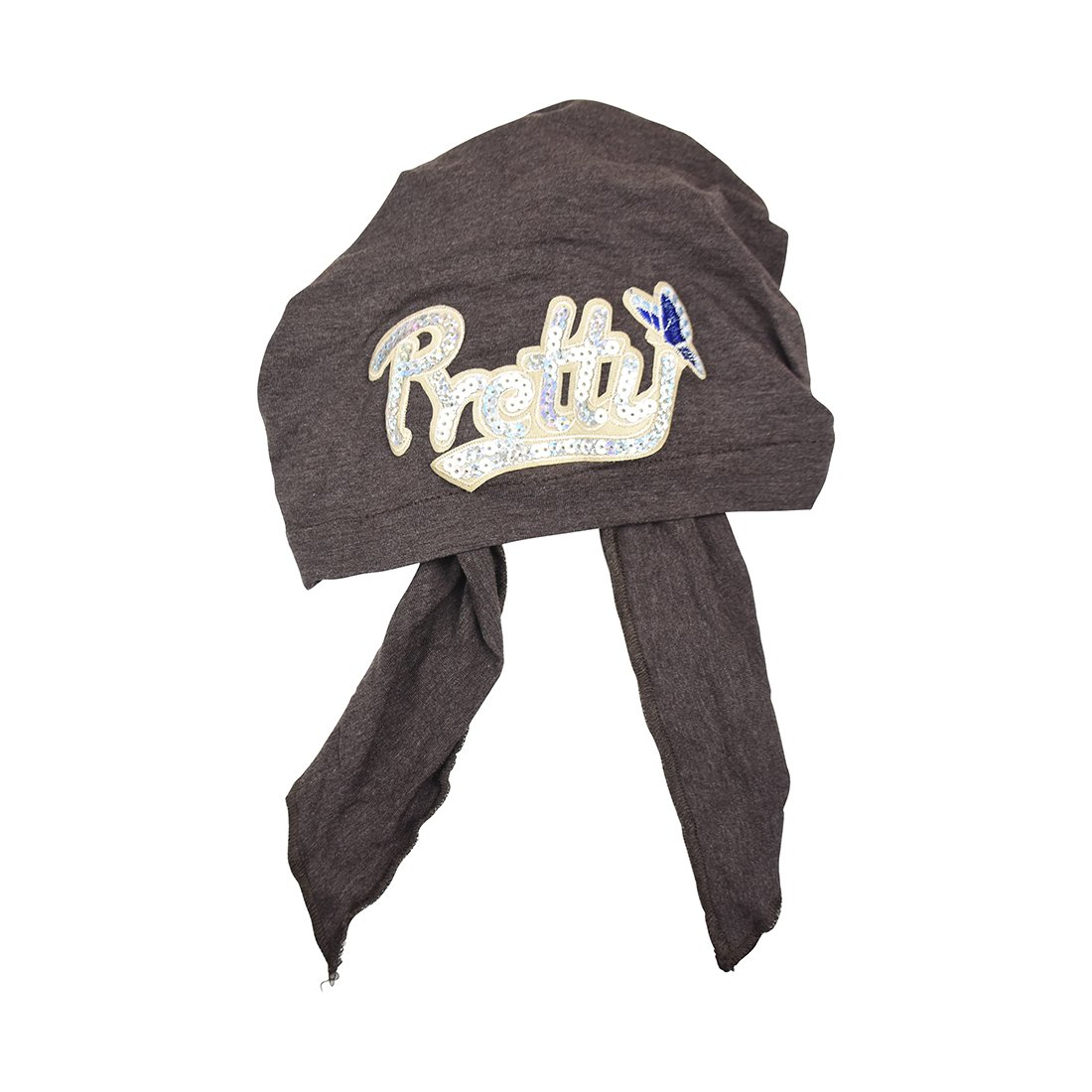 Sequin Pretty Applique on Child's Pretied Head Scarf Cancer Cap Landana Headscarves ldptk-black-a40