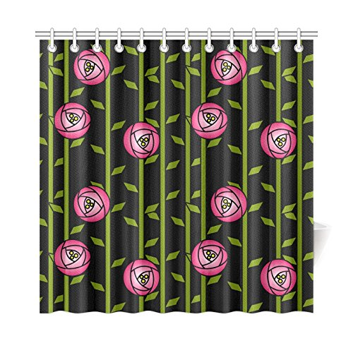 AIKENING Home Decor Bath Curtain Rose Abstract Rose Garden Charles Rennie Mackintosh Polyester Fabric Waterproof Shower Curtain For Bathroom, 72 X 72 Inch Shower Curtains Hooks Included