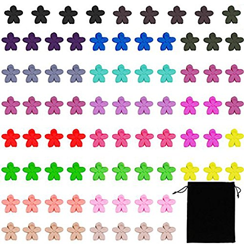(Aneco 80 Pack Mini Hair Claw Clips Flower Hair Bangs Pin Hair Accessories Clips with Velet Storage Bag for Women or Kids, 20 Colors)