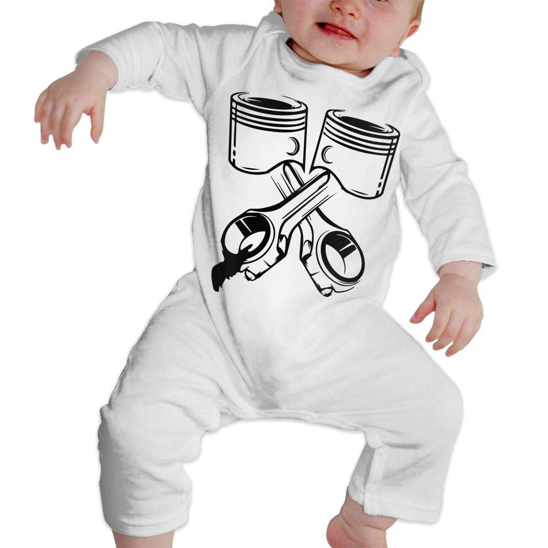 Crossed Pistons Mechanic Garage Engine Long Sleeve Newborn Romper Jumpsuit Onsies 6-24 Months Baby Bodysuit