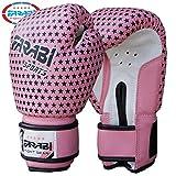 Kids boxing sparring gloves, junior mma muay thai kickboxing gloves punching bag training mitts 4Oz by Farabi (Pink stars)