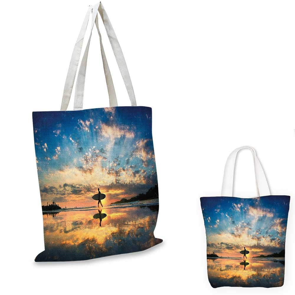 16x18-13 Ride The Wave canvas messenger bag Surfer Walking Before Horizon with Cloudy Sky Coastal Charm Image canvas beach bag Violet Blue Sepia