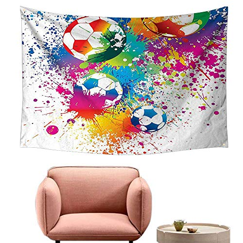 (Wall Sheets Tapestry Wall Tapestry for Living Room Colored Splashes All Over The Soccer Balls Score World Cup Championship Athletic Artful 60