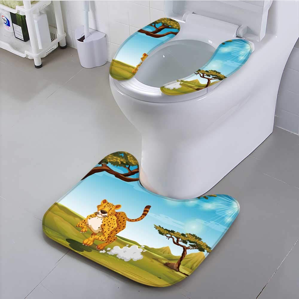 UHOO2018 Toilet seat Cheetah Runn in The Field at Daytime Suit for The Toilet