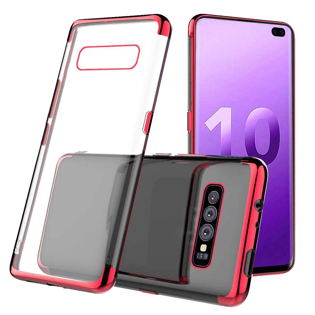 Waterproof-Case-with-Built- Screen-Protector,For Samsung-S10-Plus 6.3inch-Clear-Case-Protective TPU Gel Cover (Red)