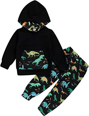 Bebés Niño Conjuntos de Ropa Sudadera con Capucha de Camuflaje Dinosaurio de Manga Larga + Pantalones para 1-6 años