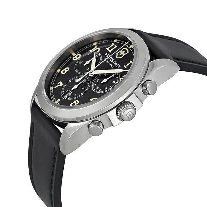 Amazon.com: Victorinox Swiss Army Mens 241588 Black Leather Watch: Victorinox Swiss Army: Watches