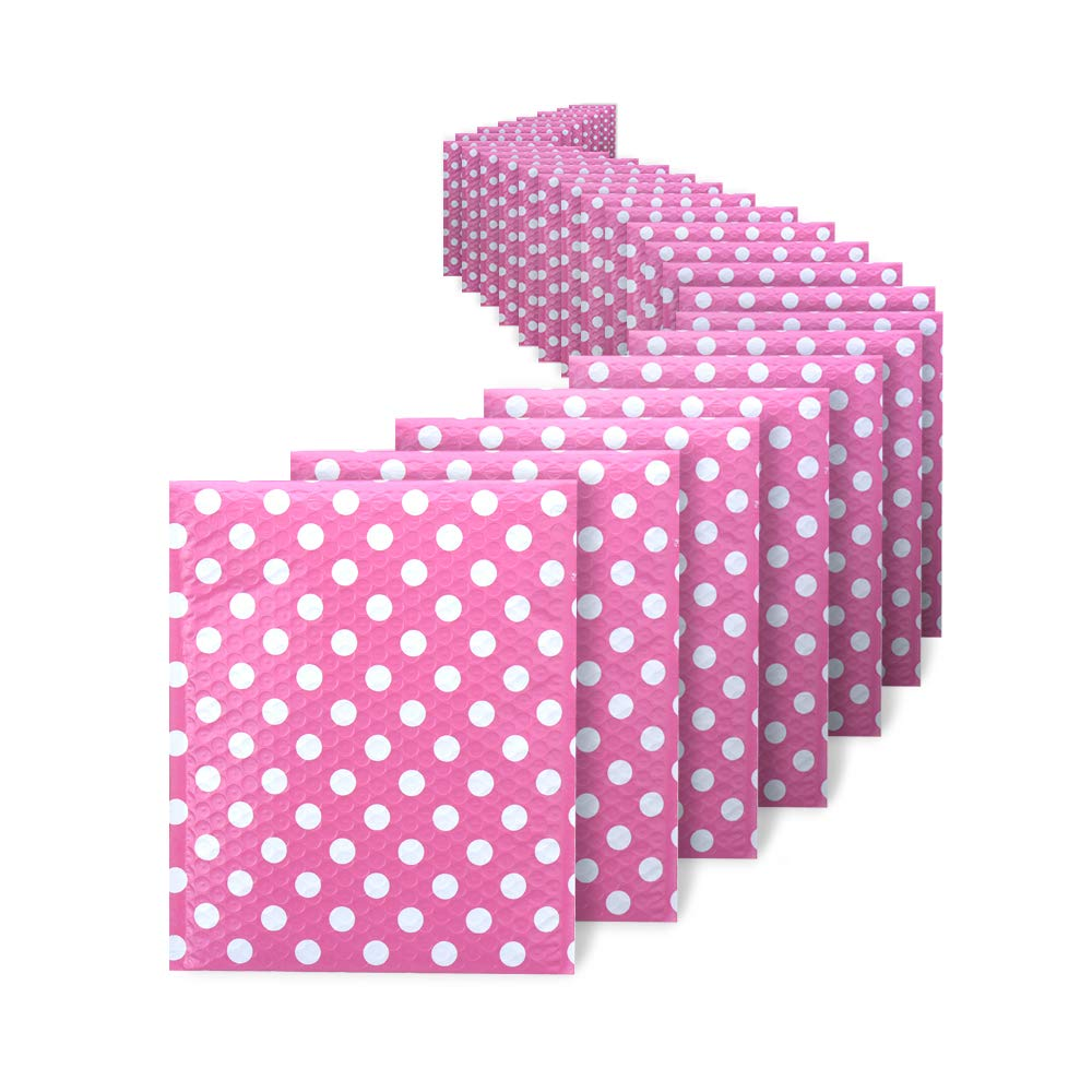 Fu Global Bubble Mailers 4x8 Inches Poly Padded Envelopes #000 Yellow Stripe 50pcs (Yellow Stripe) (Pink, 8.5x12)