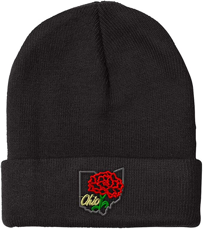 Black Ohio state beanie with embroidered red flower
