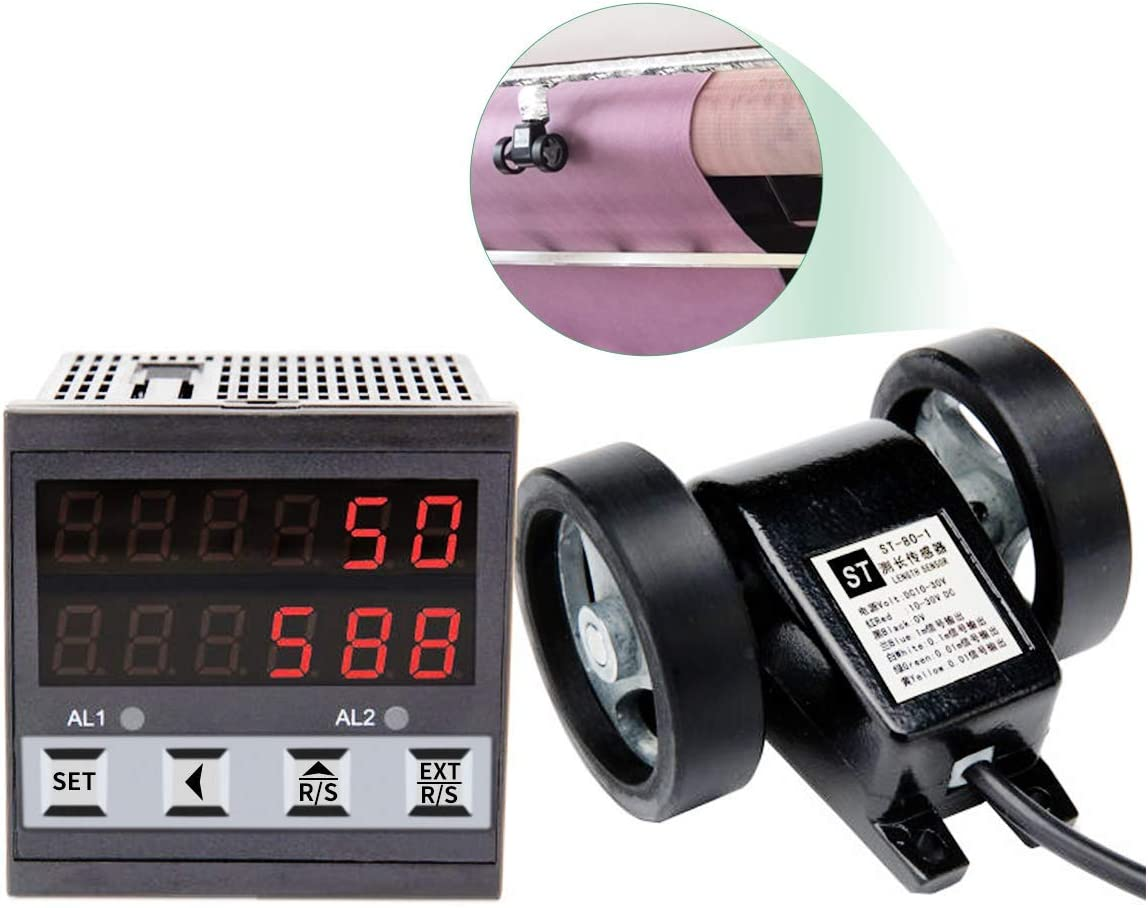 Digital Length Meter Counter Length Counter with line Speed Display for Feet Meter Yard 110V Double wheel, Black