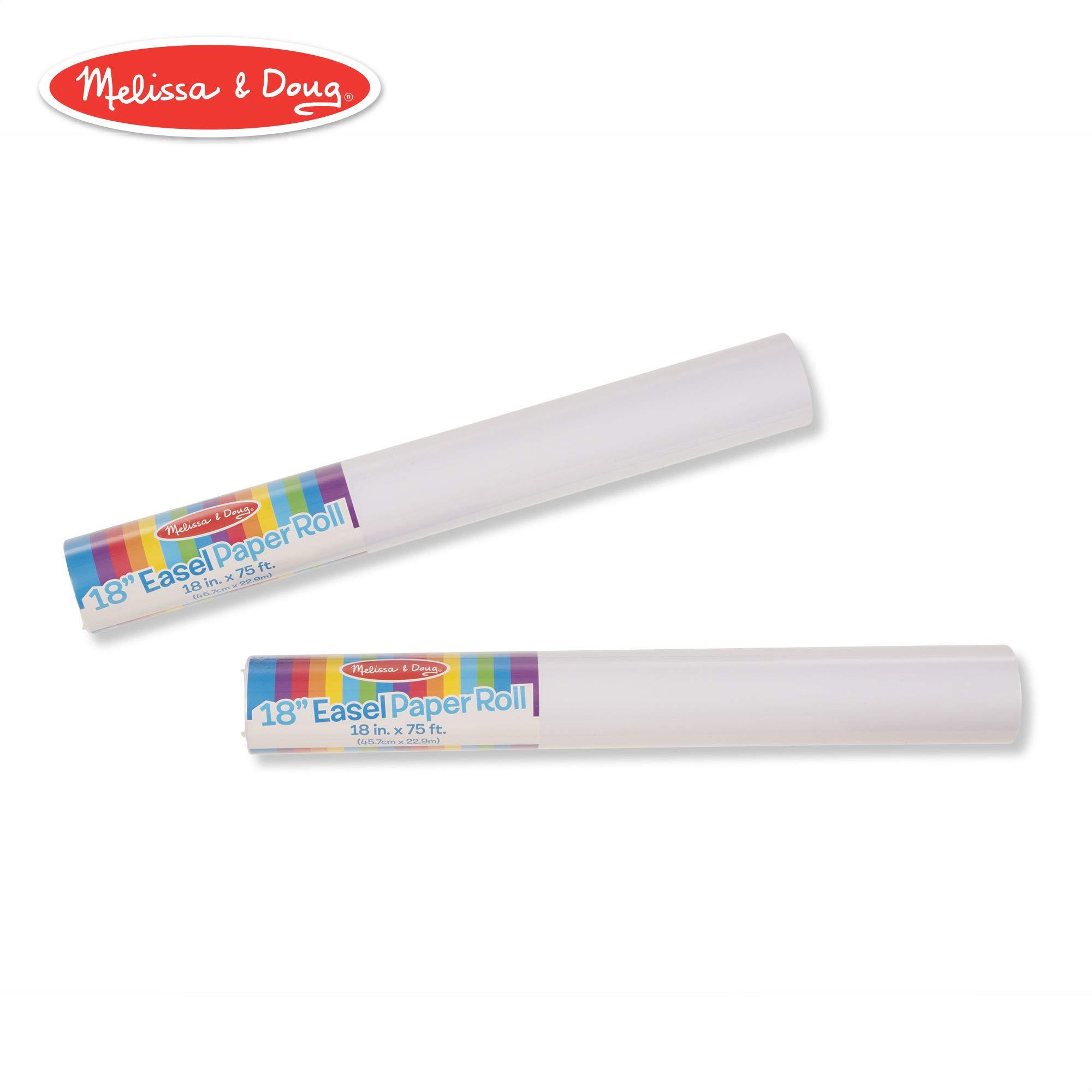 Melissa & Doug 18-Inch Easel Paper Rolls, Arts & Crafts, Bond Paper, 75-Foot Roll, 2-Pack, 18″ W × 75′ L by Melissa & Doug