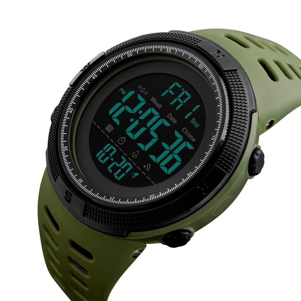 Amazon.com: Mens Digital Outdoor Sports Watch Waterproof Military Stopwatch Countdown Auto Date Alarm (SK 1251 Army Green): Watches