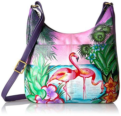 Anna by Anuschka Handpainted Leather Medium Shopper Bag-Tropical Flamingo