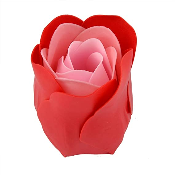 Amazon.com: eDealMax Regalo de las Mujeres Square Box Artificial Flor de Rose de la decoración del Cuerpo Pétalo jabón de baño 4pcs Rojo: Home & Kitchen