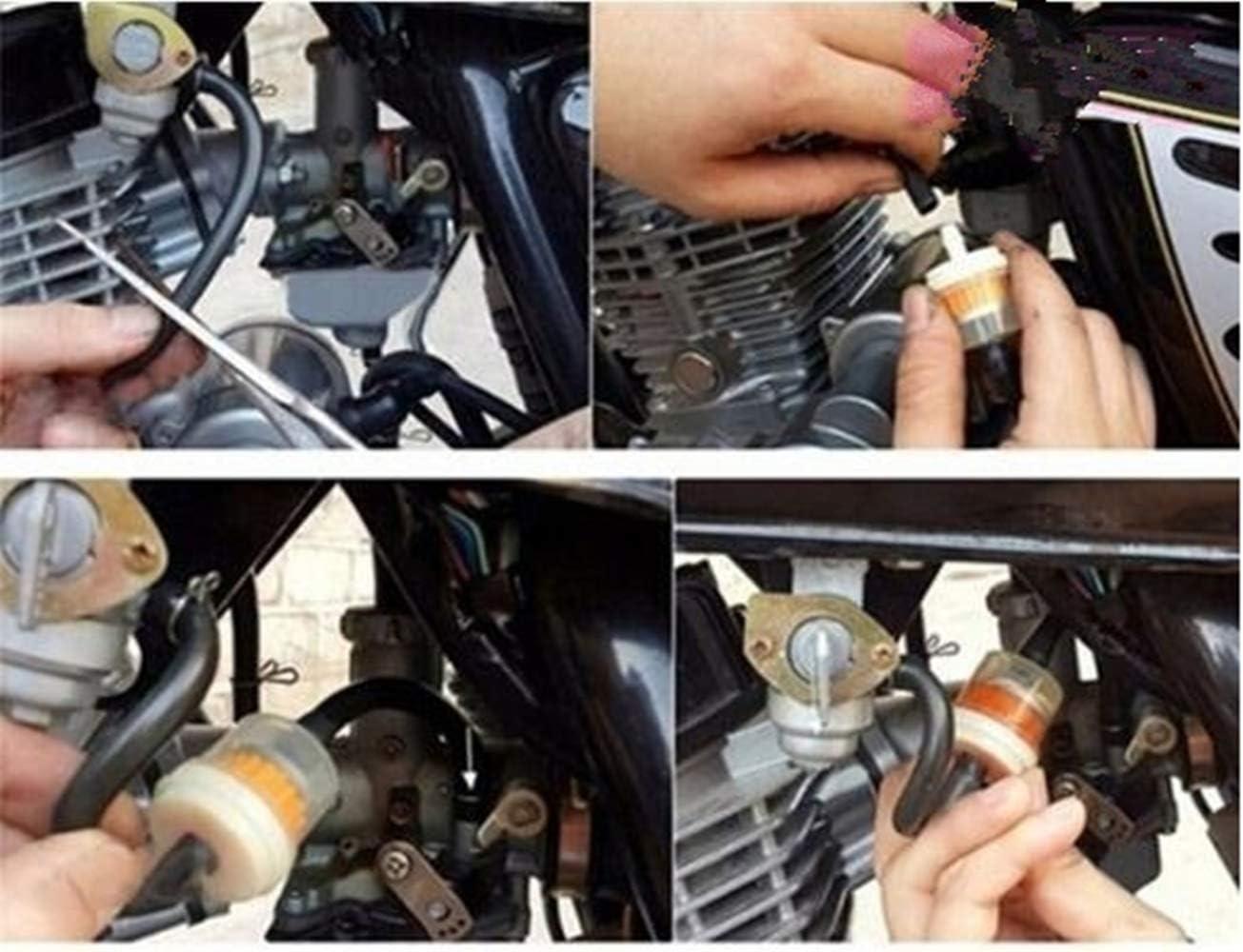 Blau Schlauchleitung Schlauch Gelb /Ölkraftstofffilter Moto Kraftstofffilterleitung Federklemmen Schellen Schlauch Schlauch 4mm Inner Dia Motorrad /Öl Benzin Universal Dirtbike ATV Moped Roller
