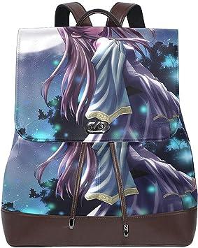Mochilas,Anime Girl Moon Mochila De Cuero Genuino para Mujer ...