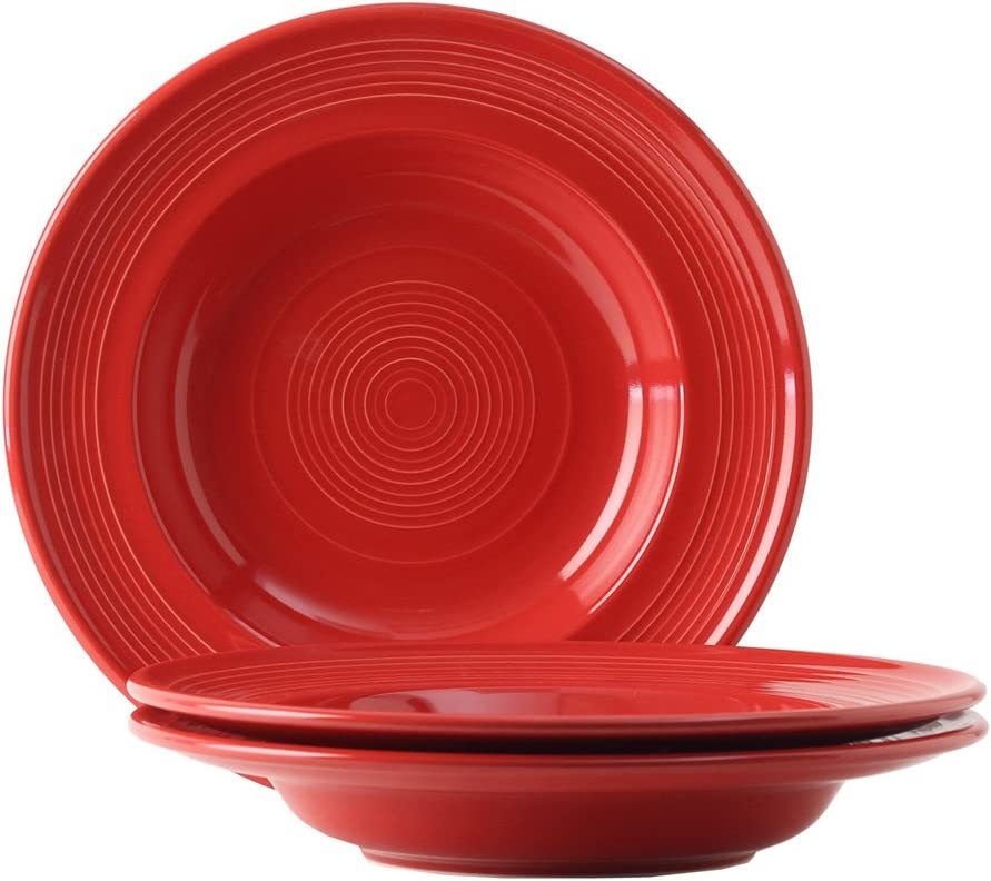 Tuxton Home Concentrix Pasta Bowl (Set of 3), 24 1/2 oz, Cayenne Red; Heavy Duty; Chip Resistant; Lead and Cadmium Free; Freezer to Oven Safe up to 500F