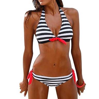 11f670d45cde1 Wondere Women Lady Classic Striped Bra Bikini Set Sexy Swimwear Swimsuit  Beachwear (S