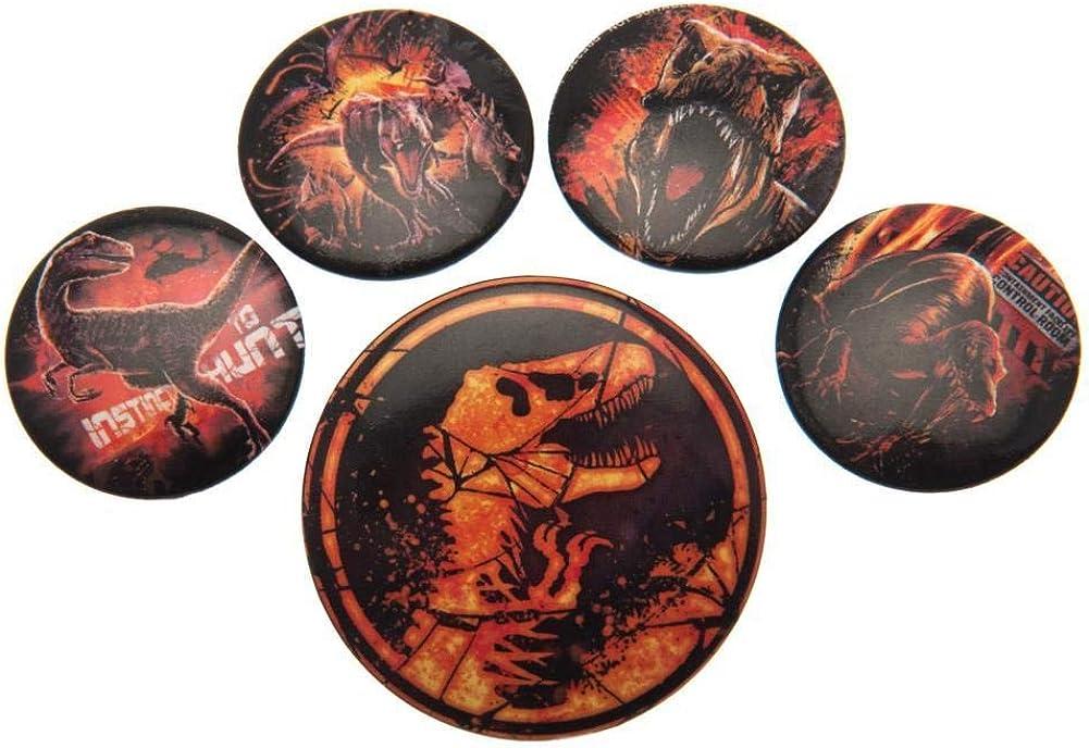 Jurassic World - Pack de chapas de El reino caído (Talla Única) (Naranja/Negro): Amazon.es: Ropa y accesorios