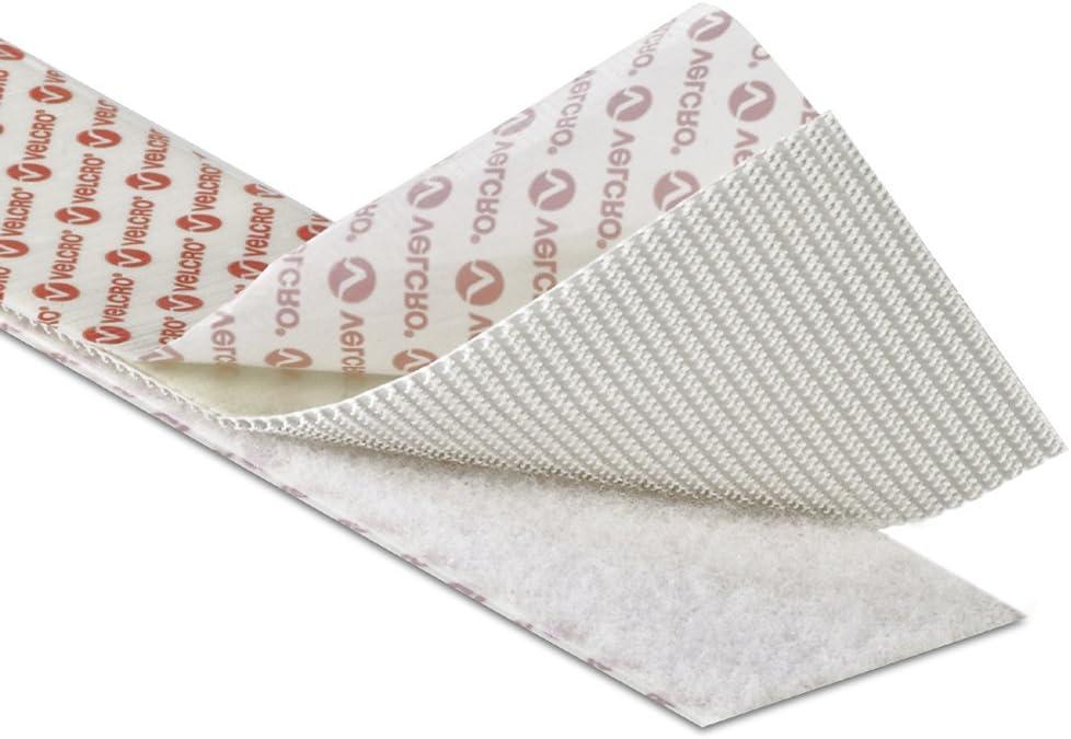Cinta Velcro® autoadhesiva blanca, 5 cm de ancha, PS51/PS52, muy resistente, para uso industrial, Blanco, 1 m