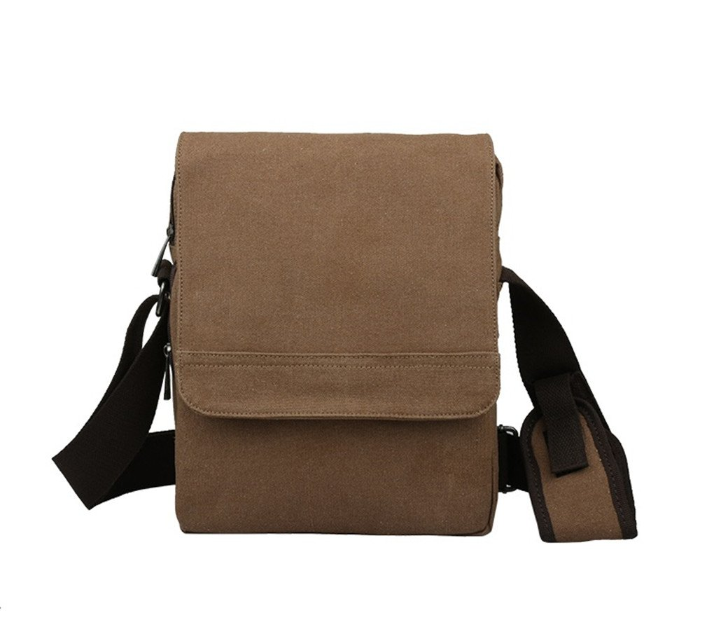 NingDom Vintage Canvas Cotton Messenger Bags Fits Ipad A4 Pocket Shoulder Bag Coffe
