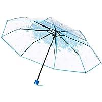WerFamily Cherry Blossom Transparent Folding Travel Umbrella