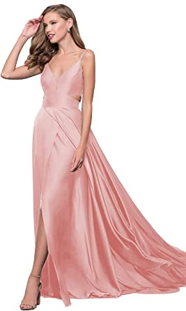 Lover Kiss Spaghetti Strap V-Neck Cut Out Waist Prom Dress 2019 with Slit  Long 909d807a4