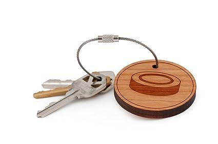 Hockey Puck llavero, madera Twist Cable llavero: Amazon.es ...